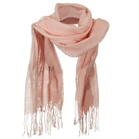Scarf, Shawl - Pink Solid Viscose Long Scarf