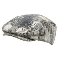 e4Hats.com: Flower Checkered Ivy Hat-Black