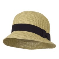Bucket - Tan Tweed Ribbon Round Crown Straw Hat