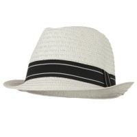 Fedora - White Open Weave Men's Fedora