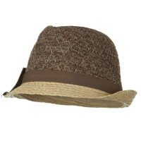 Fedora - Brown Cloth Raffia Knit Crown Fedora