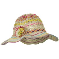 Dressy - Beige Girl's 3 Inch Wide Jute Ribbon Toyo Hat
