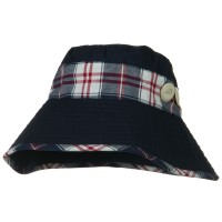 Bucket - Navy Cotton Stitched Plaid B, Hat