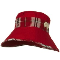 Bucket - Red Cotton Stitched Plaid B, Hat