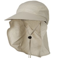 Flap Cap - Natural Removable Wide Brim Sun Cap