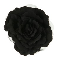 Pin , Badge - Black Flower 8 inch Rose Silk Pin Clip on