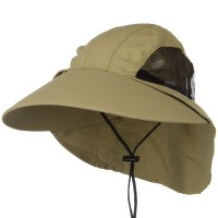 Flap Cap - Khaki Large Bill Sun Flap Cap