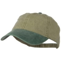 Ball Cap - Green Khaki Khaki Washed 2 Tone Cotton Cap