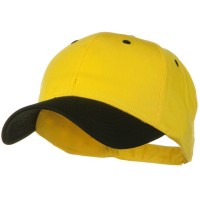 Ball Cap - Black Yellow Khaki 2 Tone Cotton Twill Strap Cap