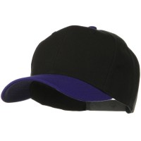 Ball Cap - Purple Black Two Tone Wool Blend Snapback Cap