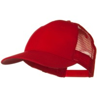 Ball Cap - Red Solid Cotton Low Profile Mesh Cap
