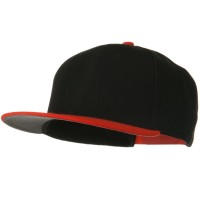 Ball Cap - Orange Black Wool Flat Visor Snapback Cap