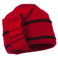 Beanie - Red Black Women's Accordion B, Beanie