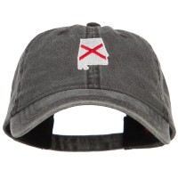 Embroidered Cap - Alabama Flag Map Washed Cap | Free Shipping | e4Hats.com