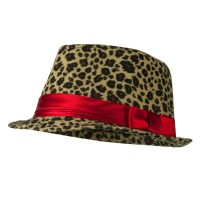 Fedora - Light Brown Girls Acrylic Blend Cheetah Fedora
