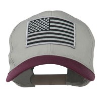 Embroidered Cap - Maroon Grey American Flag Patched Pro Style Cap