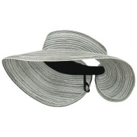 Visor - Black White UPF 40+ Poly Braid Roll Up Visor