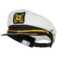 Costume - White Adjustable Gold Leaf Captain Hat