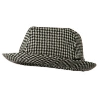 Fedora - Black White Boy's Mini Herringbone Fedora