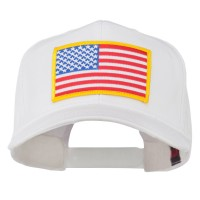 Embroidered Cap - White American Flag High Profile Cap