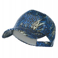 Ball Cap - Blue Animal Print , Sequin Cap