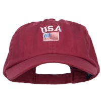 Embroidered Cap - USA with American Flag Low Cap