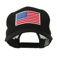 Embroidered Cap - Black American Flag White Patch Cap