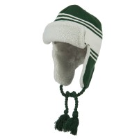 Trooper - Green White Jacquard Striped Knit Hat
