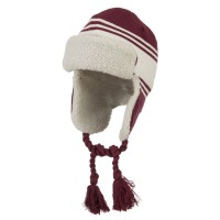 Trooper - Maroon White Jacquard Striped Knit Hat