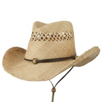 Western - Natural Chin Chord Raffia Cowboy Hat | Coupon Free | e4Hats.com