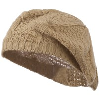 Beret - Tan Big Cable Knitted Beret