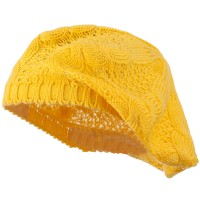 Beret - Yellow Big Cable Knitted Beret