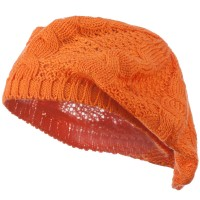 Beret - Orange Big Cable Knitted Beret