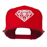 Embroidered Cap - Red Big Diamond Embroidery Flat Bill Cap | Coupon Free | e4Hats.com