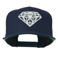Embroidered Cap - Navy Big Diamond Embroidery Flat Bill Cap