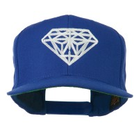Embroidered Cap - Royal Big Diamond Embroidery Flat Bill Cap