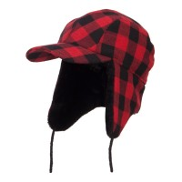 Trooper - Red Big Size Buffalo Plaid Hunter Cap | Coupon Free | e4Hats.com
