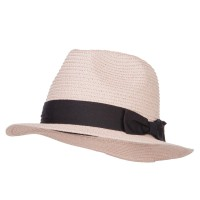 Fedora - Peach Ribbon Band Straw Panama Hat