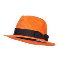 Fedora - Orange Ribbon Band Straw Panama Hat