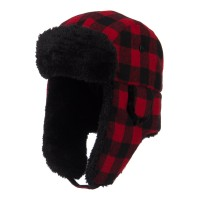 Trooper - Red Black Big Size Buffalo Plaid Hat