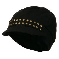 Newsboy - Black Brass Stud Women's Newsboy