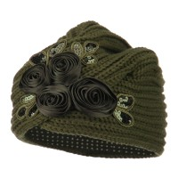 Wrap - Olive Flower Sequins Knit Turban