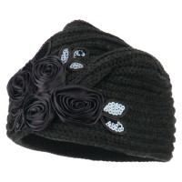 Wrap - Charcoal Flower Sequins Knit Turban