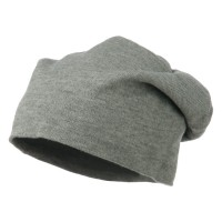 Beanie - Heather Grey Big Size Knit Slouch Beanie | Coupon Free | e4Hats.com