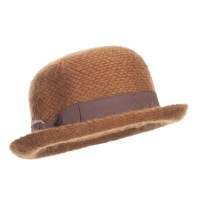 Fedora - Brown Women's Ribbon Band Yarn Bowler