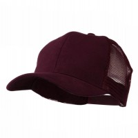 Ball Cap - Maroon Cotton Brush Mesh Cap