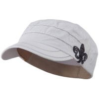Cadet - White Checkered Flower Army Cap