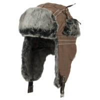 Trooper - Brown Chambray Faux Fur Trooper Hat