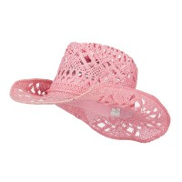 Western - Pink Solid Color Straw Cowboy Hat