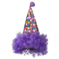 Costume - Purple Clown Hat with Hair